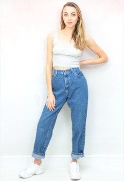 1990s vintage classic blue high waist mom jeans