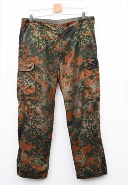 German Military Vintage Men Flecktarn Camo Trousers W36 L32