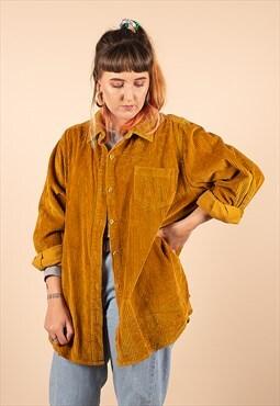 Vintage Mustard Oversized Cord Shirt /R27008