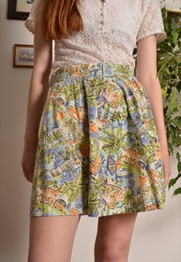 Vintage 80s Hawaiian Crazy Pattern Elasticated Shorts