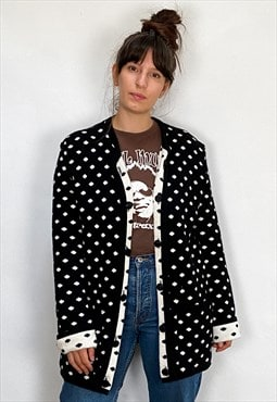 VINTAGE 90's Black & White Spotty Long Sleeve Cardigan