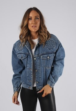 Vintage Denim Jacket Oversized Fitted UK 12 Medium (JR3E)