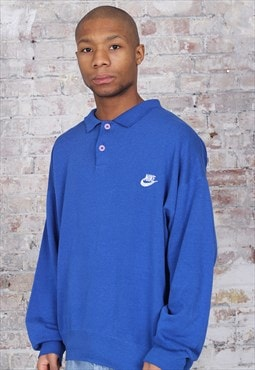 Vintage Nike Button Up Rugby Logo Sweatshirt Blue
