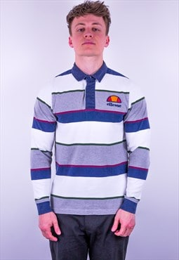 Vintage Ellesse Striped Rugby Polo Shirt
