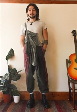 Fairly Traded Grey Patchwork Hippie Dungarees