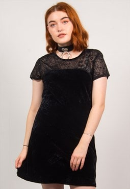 Vintage 90's Black Velvet Paisley Dress