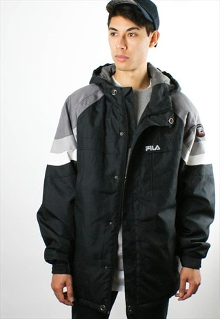 FILA BLACK 1990S PADDED COAT/ JACKET, HOOD