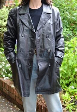 90s Vintage Black Leather Blazer Jacket