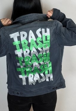 Trash Reworked Hand Painted Denim Jacket Size Small