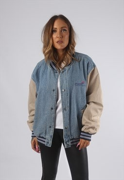 Vintage VARSITY Denim Bomber Jacket Oversized UK 16 (L72F)