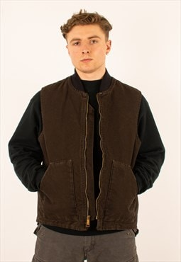 Vintage Brown Carhartt Chore Gilet Vest Jacket Coat