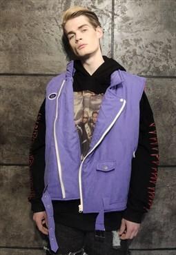 biker vest sleeveless rocker gilet zip padded jacket purple