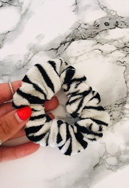 REWORKED Faux Fur Zebra Print Scrunchie