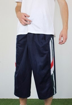 Vintage Cotton 3/4 Length Basketball Shorts in Blue