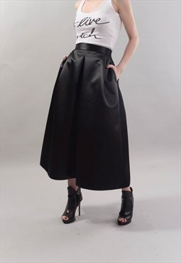 Black Midi Skirt Belted Pleated Satin Black Skirt F1818