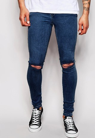 54 FLORAL SKINNY RAW CUT DENIM JEANS - NAVY