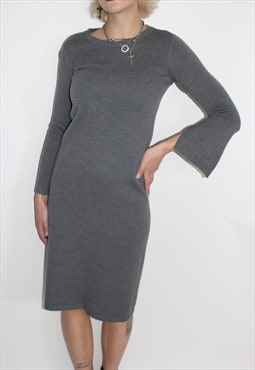 Grey Wool Long Sleeve Dress
