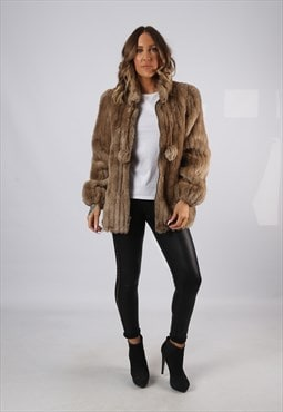 Faux Fur Coat Jacket Short Mid Vintage UK 14 (DJ7X)