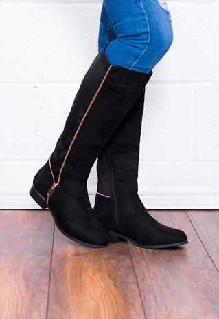 PROVENCE ZIP FLAT STRETCH KNEE HIGH TALL BOOTS - BLACK