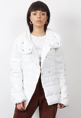 VINTAGE 90'S GUESS WHITE DOUBLE BUTTON PUFFER JACKET