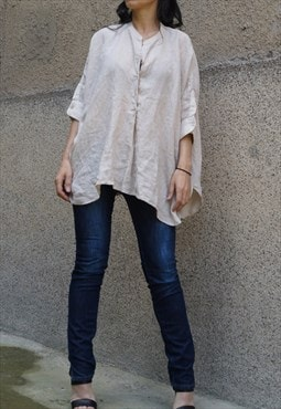 Casual Tunic/Linen Shirt/Oversized Top/Asymmetrical/F1469