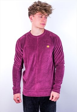 Vintage Ellesse Velour Sweatshirt in Burgundy