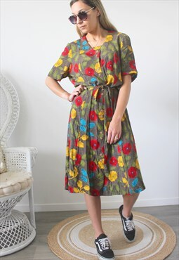 vintage dress print one size
