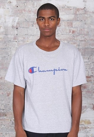 Vintage Champion Big Print Logo T-Shirt Grey