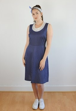 Womens Vintage 60s dress blue white spotty pattern swing