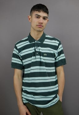 Vintage Striped Lacoste Polo Shirt Blue & Green with Logo