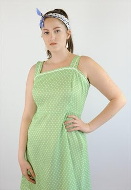 Womens Vintage 60s 70s dress green spotty swing circle skirt