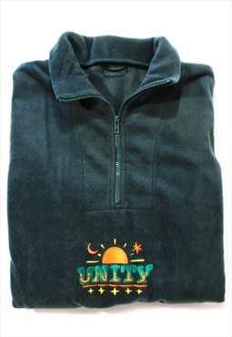 Unity Embroidered Sun & Moon Cosy 1/4 Zip Fleece Sweatshirt