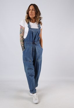 Denim Dungarees Wide Tapered Leg FADE OUT UK 12  (BJ3A)
