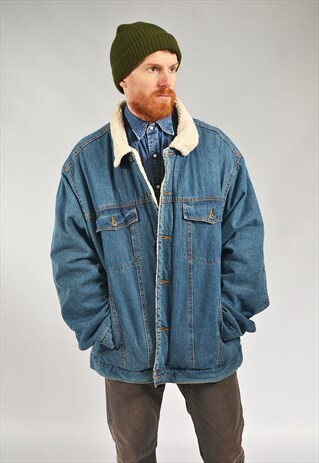 VINTAGE DARK BLUE LINED SHERPA DENIM JACKET