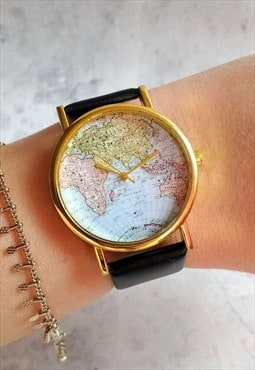 Traditional World Map Watch Black
