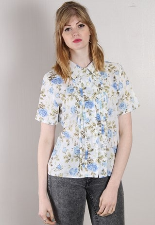 VINTAGE 80S FLORAL PATTERN PLEAT BLOUSE SHIRT TOP