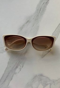 Cream Vintage Inspired Sunglasses with Brown Lenses