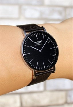 Slim Silver on Black Chain Watch
