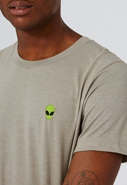 Embroidered 'Alien' T-Shirt in Stone Grey