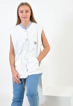Vintage cotton bomber vest in white
