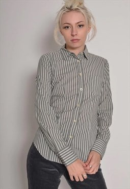 Vintage Benetton Womens Fitted Striped Shirt