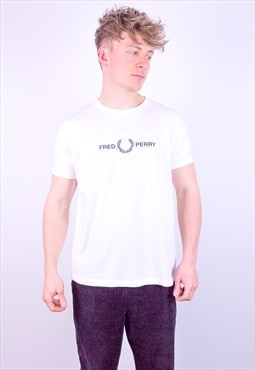 Vintage Fred Perry Embroidery T-Shirt in White Large