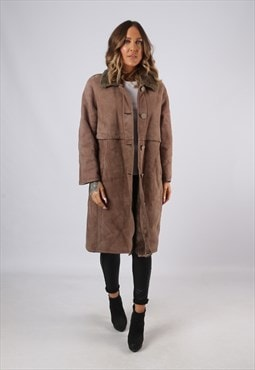 Sheepskin Suede Leather Shearling Coat UK 12 Medium (KJBH)