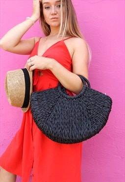 Large Black Straw Rattan Tote Bag