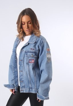 Denim Jacket With Badges  Oversized Fitted UK 16 - 18  (EEAM