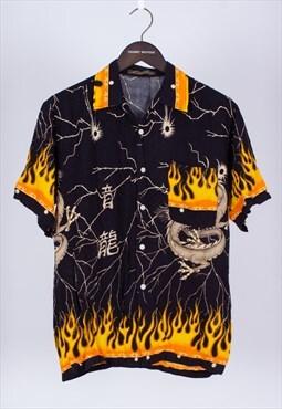 Vintage 90s Yellow Short Sleeve Dragon Shirt