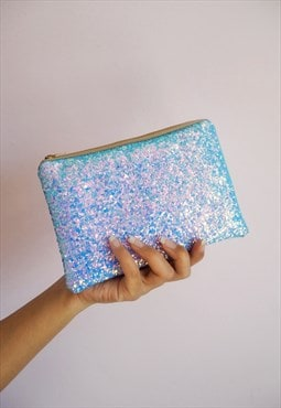 Blue Glitter Makeup Bag