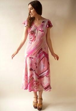 Vintage 1990's Reversible Chiffon Floral Bias Cut Slip Dress