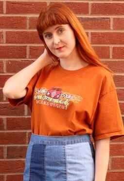 Vintage 90s T-shirt Orange Volkswagen Graphic Tee