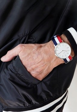 Minimalist watch french nato / ivory white